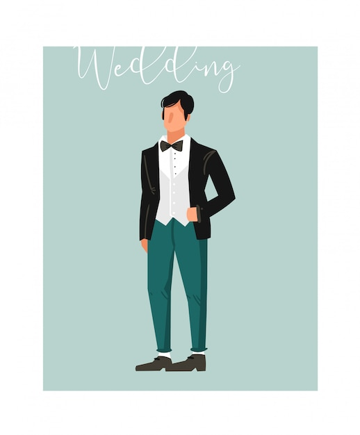 Hand drawn  abstract cartoon wedding groom illustration element  on blue background Premium Vector