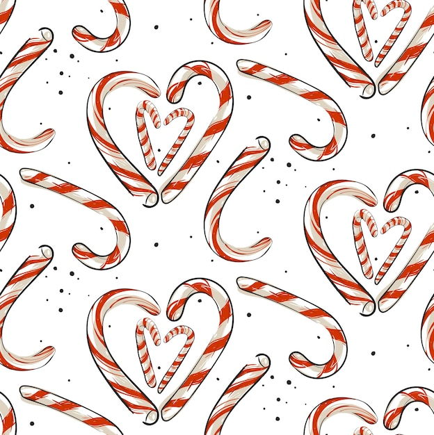 hand drawn abstract christmas seamless pattern with candy canes 200084 1587