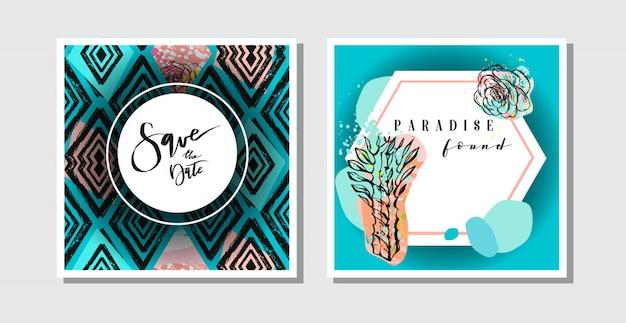 Рисованной абстрактный творческий коллаж от руки текстурированные сохранить шаблон коллекции поздравительных открыток даты с сочными цветами и кактусами. свадьба, сохранить дату, день рождения, rsvp Premium векторы