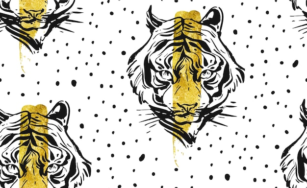 Ручной обращается абстрактный творческий бесшовный образец с иллюстрацией лица тигра Premium векторы