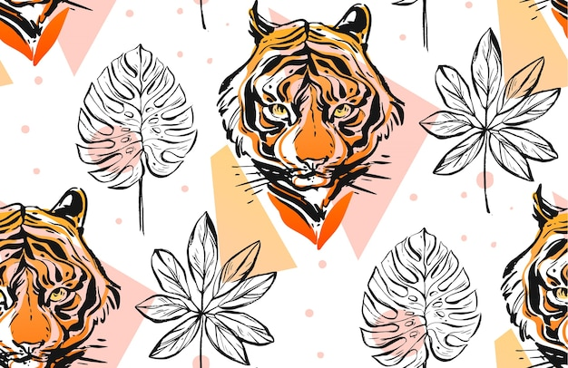 Hand drawn  abstract creative seamless pattern with tiger face illustration Premium Vector
