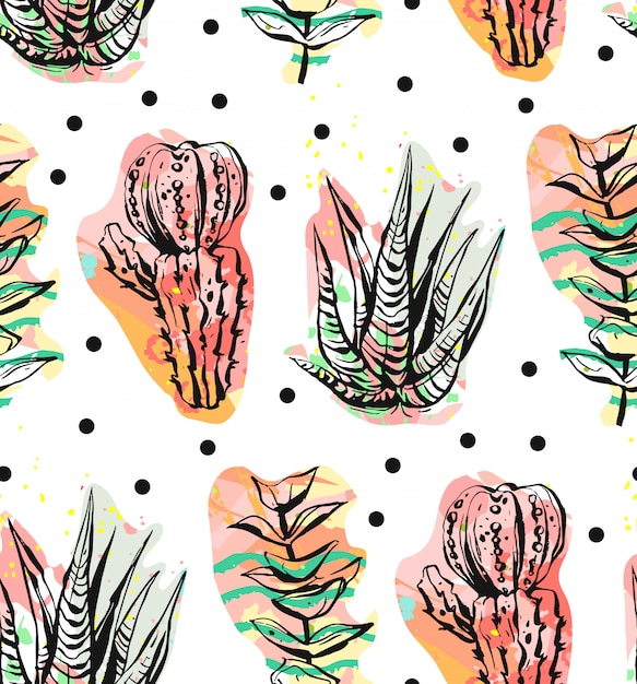 Hand drawn  abstract  creative succulent,cactus and plants seamless pattern on polka dots background.unique unusual hipster trendy .wedding,save the date,birthday,fashion fabric. Premium Vector