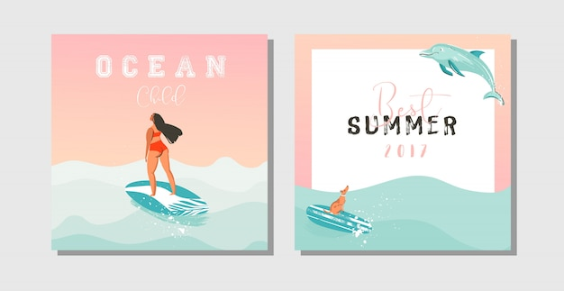 Hand drawn  abstract exotic summer time funny save the date cards set collection template with surfer girls,surfboard,dog,sunset and typography quote on on blue ocean waves water Premium Vector