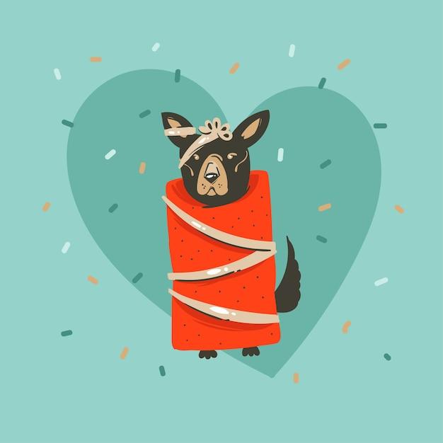 Рисованной абстрактного веселья веселого рождества и счастливого нового года время мультфильм иллюстрация открытка с рождеством милая смешная собака в упаковочной бумаге и конфетти на синем фоне Premium векторы