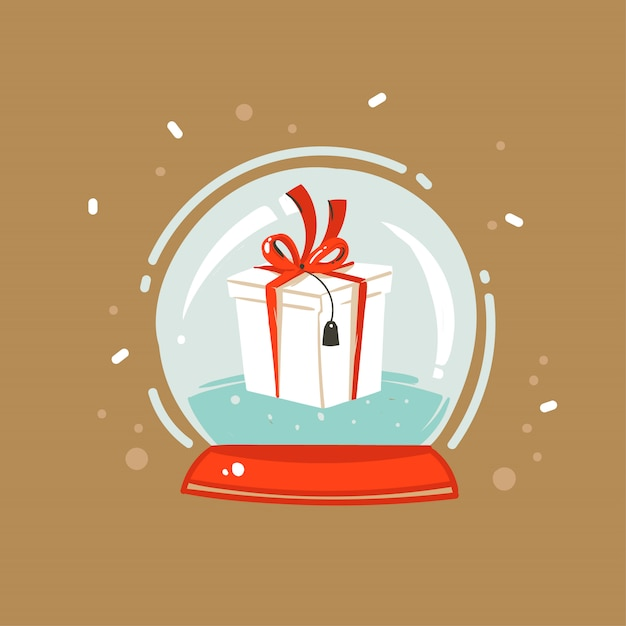 Hand drawn  abstract fun merry christmas and happy new year time cartoon illustration greeting card with xmas surprise gift box in snow globe sphere  on brown background Premium Vector
