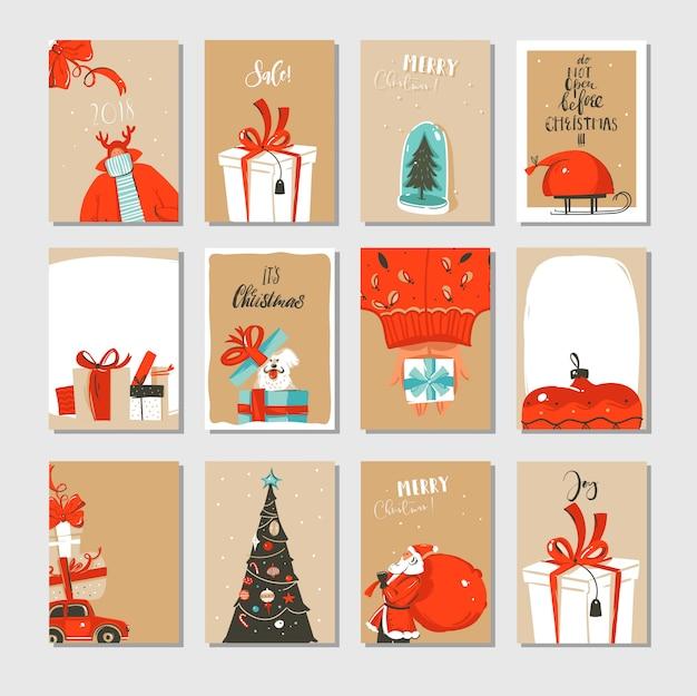 手描きの抽象的な楽しいメリークリスマス時間漫画カードコレクションセットペーパークラフトに分離されたかわいいイラスト Premiumベクター