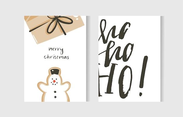 손으로 그린 추상 재미 메리 크리스마스 시간 만화 카드 컬렉션 귀여운 일러스트, 깜짝 선물 상자, 눈사람 및 필기 현대 서 예 텍스트 흰색 배경에 고립 된 집합입니다. 프리미엄 벡터
