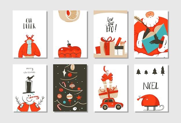 손으로 그린 추상 재미 메리 크리스마스 시간 만화 카드 컬렉션 귀여운 일러스트, 깜짝 선물 상자, 크리스마스 트리 및 흰색 배경에 고립 된 현대 서 예 설정. 프리미엄 벡터