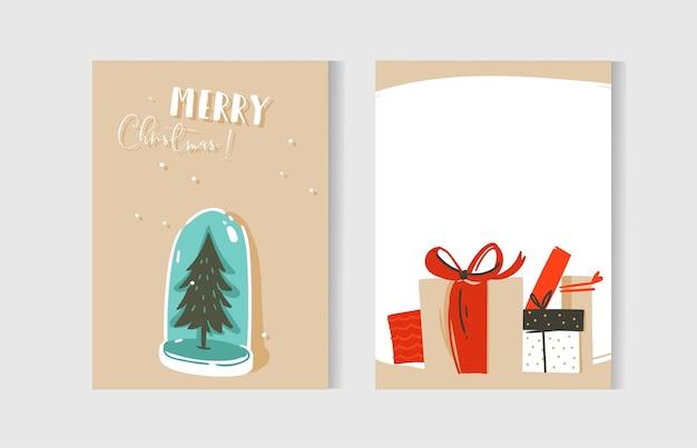 손으로 그린 추상 재미 메리 크리스마스 시간 만화 카드 컬렉션 일러스트, 깜짝 선물 상자, 크리스마스 트리 눈 공 전구 및 흰색 배경에 고립 된 현대 서 예 설정. 프리미엄 벡터