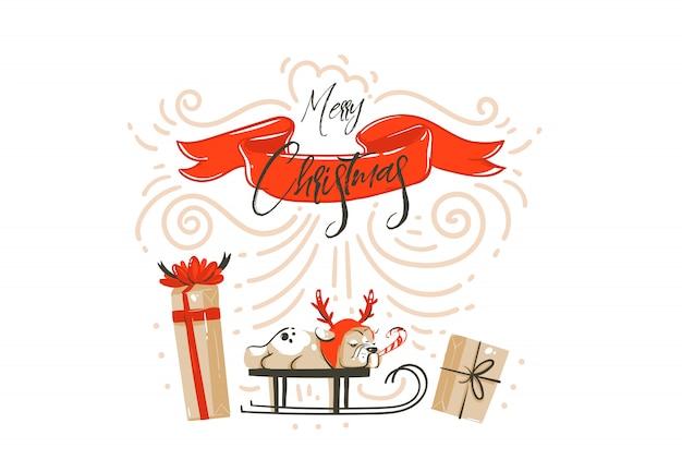 Ручной обращается абстрактное развлечение с рождеством христовым мультфильм иллюстрации карты с сюрпризом подарочные коробки, изолированные на белом фоне Premium векторы