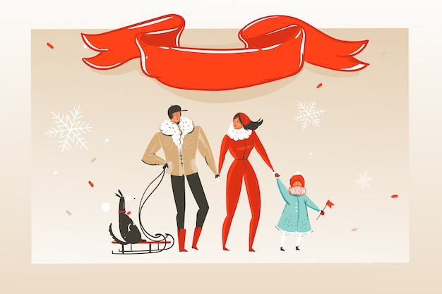 Hand drawn  abstract fun merry christmas time cartoon illustration greeting card with happy family and red ribbon with copy space place  on craft background. Premium Vector