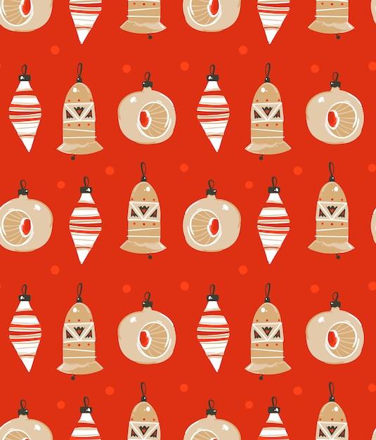手描き抽象楽しいメリークリスマス時間漫画イラストシームレスパターン赤の背景にクリスマスツリーのおもちゃ。 Premiumベクター