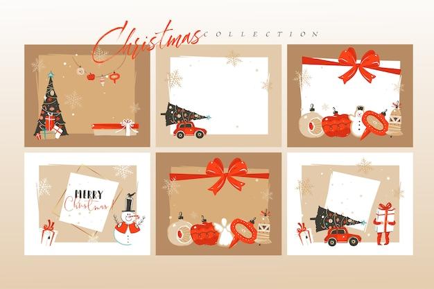 손으로 그린 추상 재미 메리 크리스마스 시간 만화 그림 인사말 카드 서식 파일 및 배경 큰 컬렉션 선물 상자, 사람과 흰색 배경에 고립 된 크리스마스 아트 세트 프리미엄 벡터