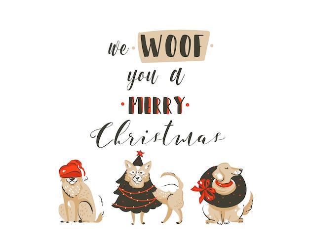 손으로 그린 추상 재미 메리 크리스마스 시간 만화 일러스트 포스터 크리스마스 개와 현대 필기 서 예 텍스트 우리는 당신이 흰색 배경에 고립 된 메리 크리스마스 우프. 프리미엄 벡터