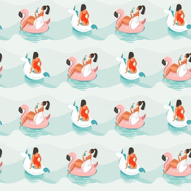 手描きの抽象的な楽しい夏時間イラストシームレスパターンピンクのフラミンゴで泳いでいる少女と青い海の波でユニコーンフロート円 Premiumベクター