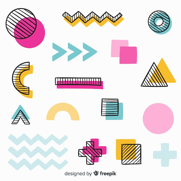 Hand drawn abstract geometric background Free Vector