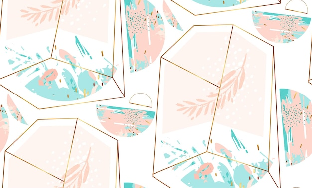 Hand drawn  abstract  geometric seamless pattern with crystal terrarium Premium Vector