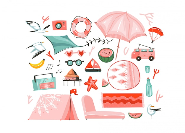 Hand drawn abstract graphic cartoon summer time flat illustrations collection set with camping tent,camper,umbrella,seagull birds,record player,carpets,beach cabin isolated on white background Premium Vector