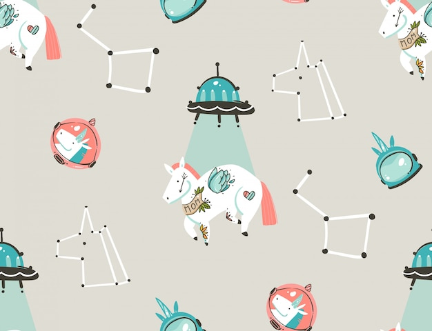 Hand drawn abstract graphic creative artistic cartoon illustrations seamless pattern with astronaut unicorns with old school tattoo,stars,planets and spaceship isolated on pastel background Premium Vector