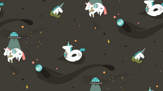 Hand drawn  abstract graphic creative cartoon illustration seamless pattern with cosmonaut unicorns with old school tattoo,unicorn float and ufo spaceship in cosmos isolated on black background Premium Vector