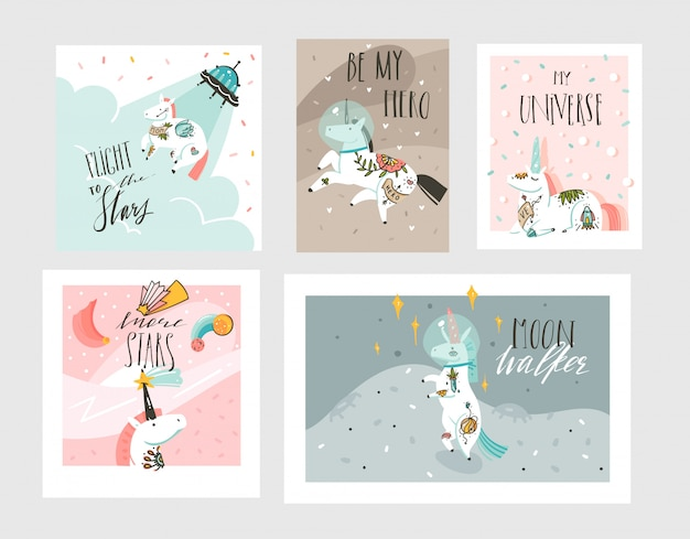 Hand drawn abstract graphic creative cartoon illustrations cards collection set template with astron