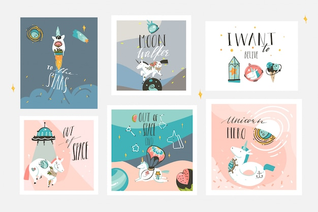 Hand drawn  abstract graphic creative cartoon illustrations cards collection set template with astronaut unicorns with old school tattoo,planets and spaceship isolated on pastel background Premium Vector