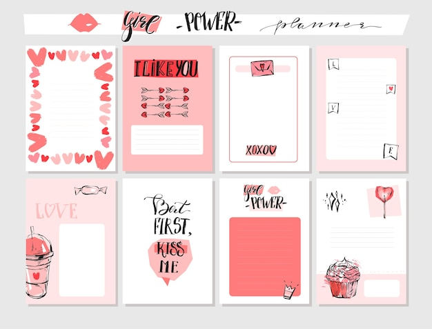 Hand drawn  abstract graphic valentines day greeting cards collection Premium Vector