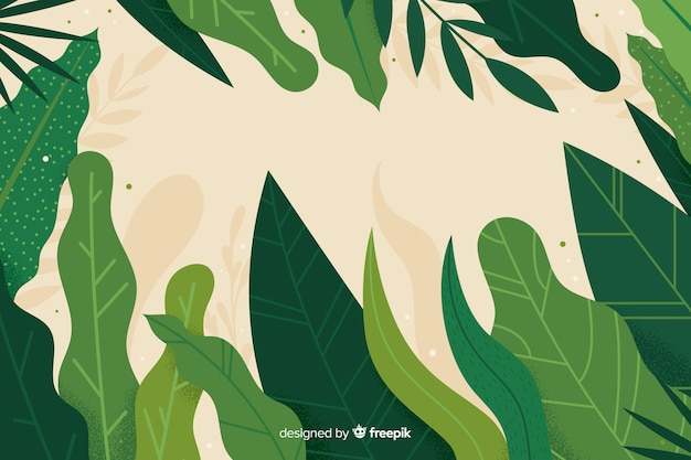 Hand drawn abstract green leaves background Free Vector