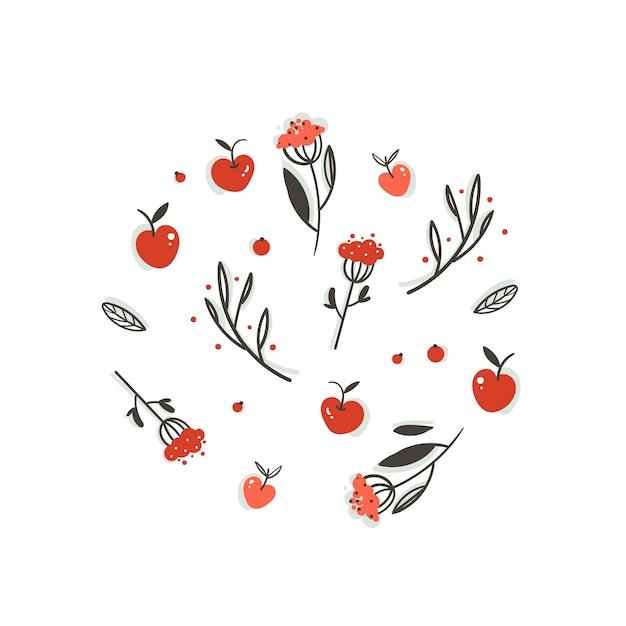 손으로 그린 추상 인사말 만화가 그래픽 장식 요소 열매, 잎, 가지와 흰색 바탕에 사과 수확 설정합니다. 프리미엄 벡터