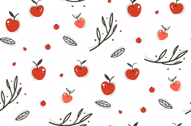 손으로 그린 추상 인사말 만화 가을 그래픽 장식 완벽 한 패턴 열매, 잎, 가지와 흰색 바탕에 사과 수확. 프리미엄 벡터