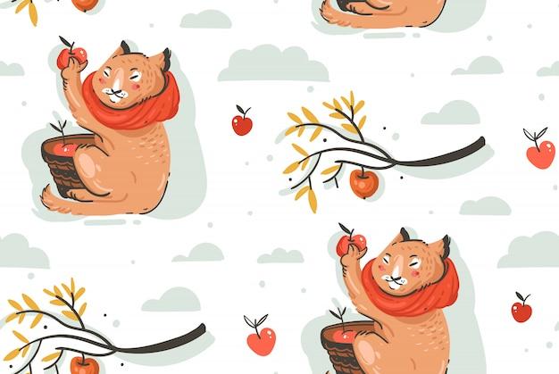 かわいい猫のキャラクターと手描き抽象挨拶漫画秋イラストシームレスパターンは、果実、葉、白い背景の上の枝とリンゴの収穫を収集しました。 Premiumベクター