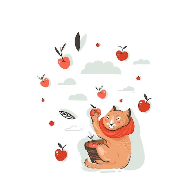 Нарисованная рукой абстрактная иллюстрация осени шаржа приветствия с характером милого кота собрала урожай яблок с ягодами, листьями и ветвями на белом фоне. Premium векторы