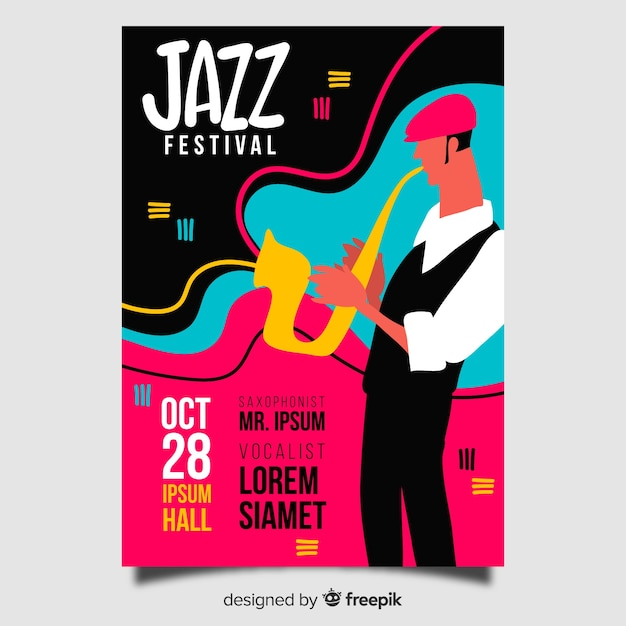Hand drawn abstract jazz poster template Free Vector