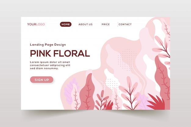 Hand drawn abstract leaves landing page Premium Vector