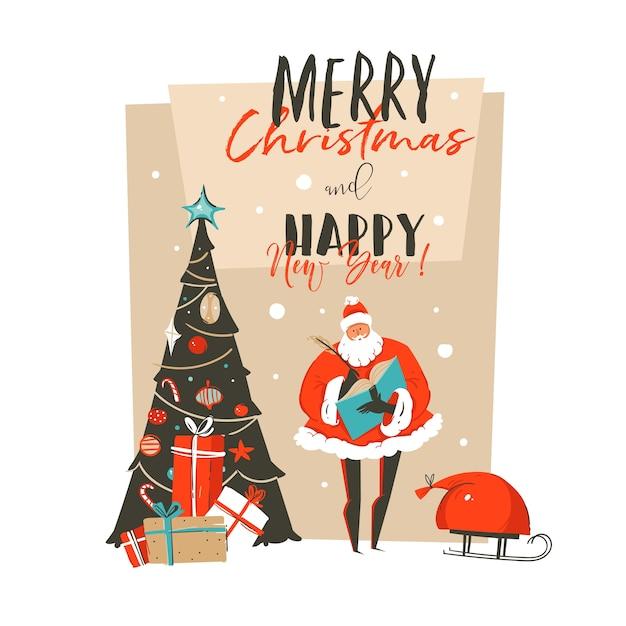 手描き抽象メリークリスマスと新年あけましておめでとうございます時間漫画イラスト Premiumベクター