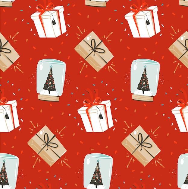 Вручите вычерченную абстрактную картину с рождеством христовым и счастливого нового года нордическую безшовную с милой иллюстрацией подарочных коробок сюрприза и сферы глобуса снега на красной предпосылке. Premium векторы