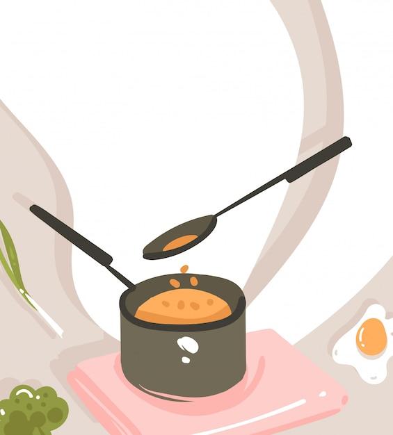 手描きのモダンな漫画料理クラスのイラストポスターの料理シーン、鍋、スプーン、白い背景上のテキストのコピースペースの準備とポスター Premiumベクター