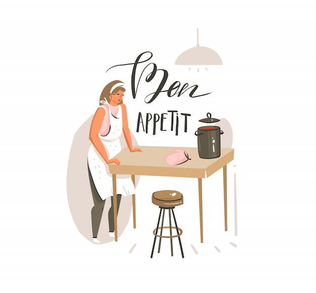 Hand drawn  abstract modern cartoon cooking class illustrations poster with retro vintage cooking woman and handwritten calligraphy bon appetit  on white background Premium Vector