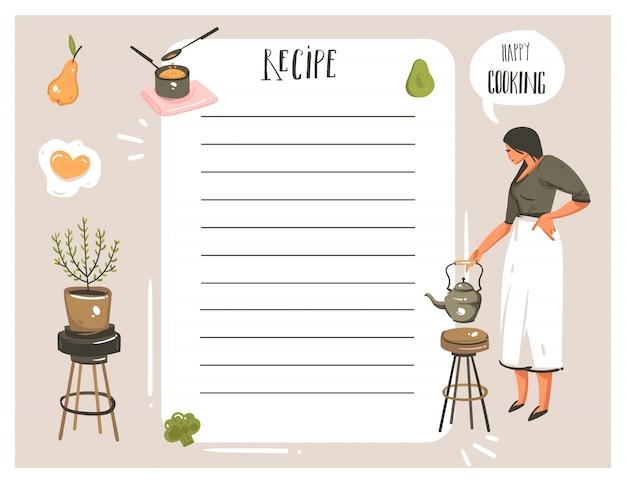 手描き抽象モダンな漫画料理スタジオイラストレシピカードプランナーテンプレート、女性、食品、野菜、白い背景の上の手書き書道 Premiumベクター