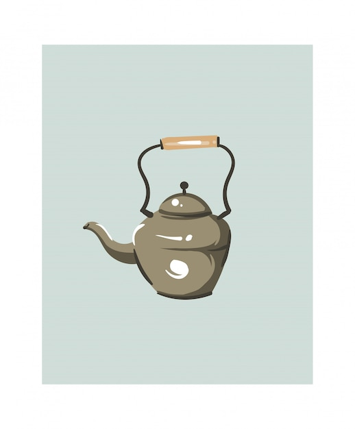 Hand drawn abstract modern cartoon cooking time fun illustrations icon with big vintage teapot isolated on white background. Premium Vector