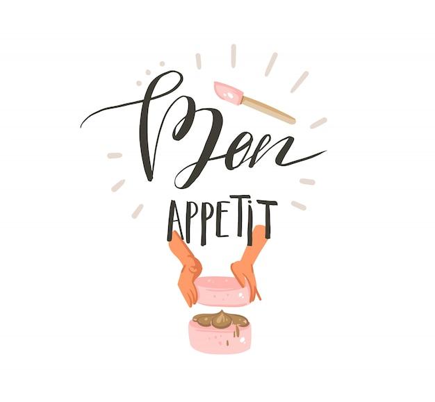 手描き抽象モダンな漫画料理時間楽しいイラストサインデザインケーキを作る女性の手と白い背景に分離されたモダンな手書き書道bon appetit Premiumベクター