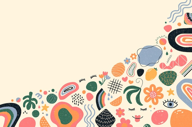 Hand-drawn abstract organic shapes background theme Free Vector