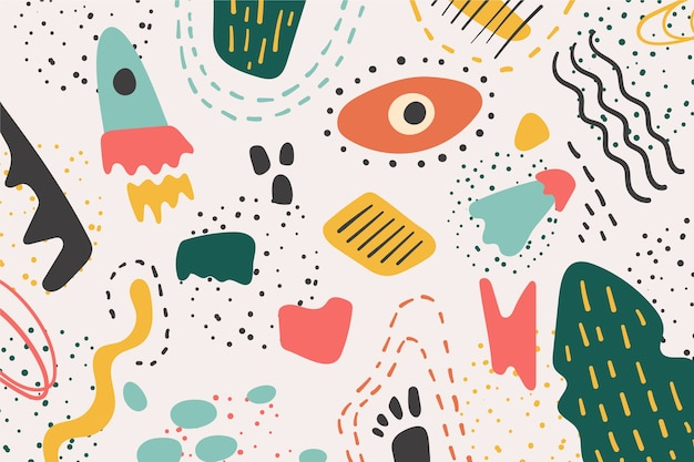 Hand drawn abstract organic shapes background Free Vector