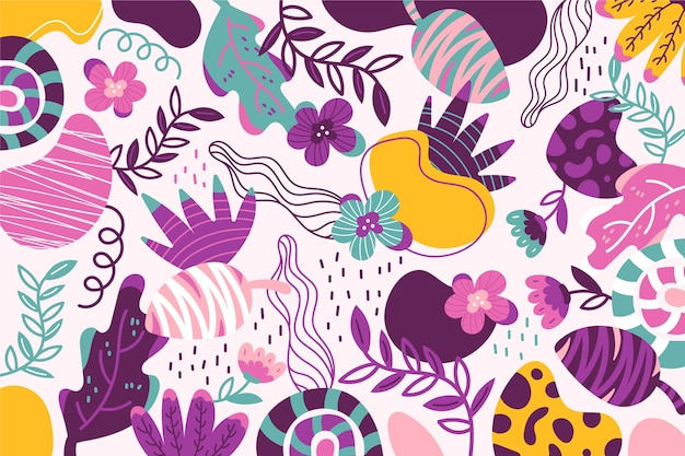 Hand drawn abstract organic shapes wallpaper Free Vector