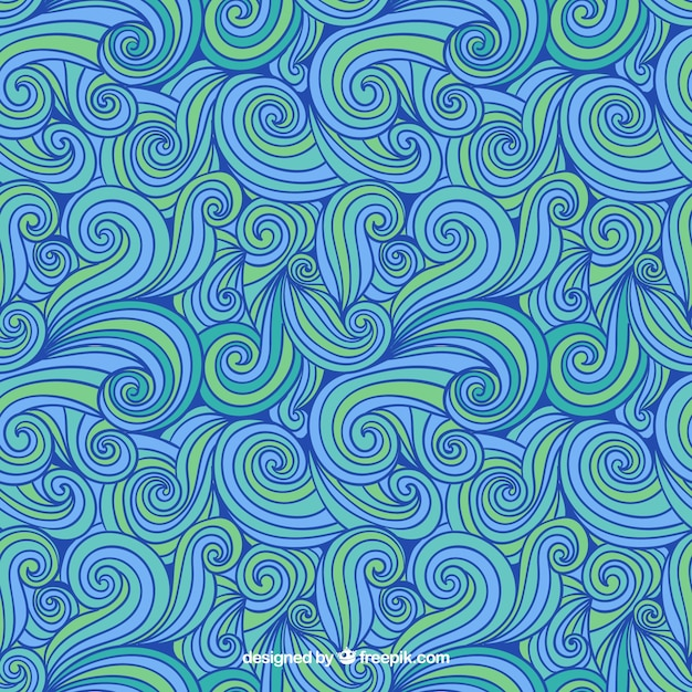 Hand drawn abstract pattern in blue and green tones Free Vector