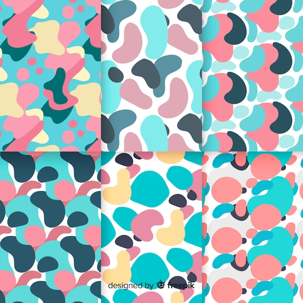 Hand drawn abstract pattern collection with bubbles Free Vector