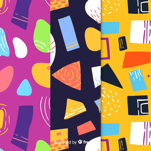 Hand drawn abstract pattern collection Free Vector