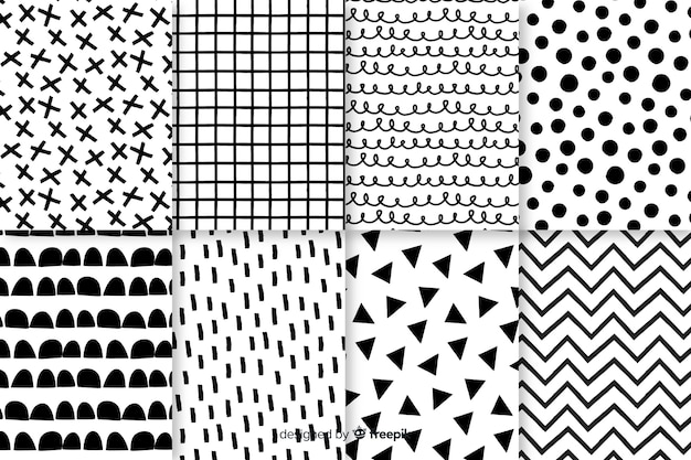Hand drawn abstract pattern collection Premium Vector