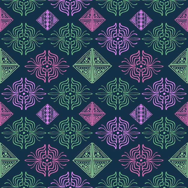 Hand drawn abstract pattern multicolor Premium Vector