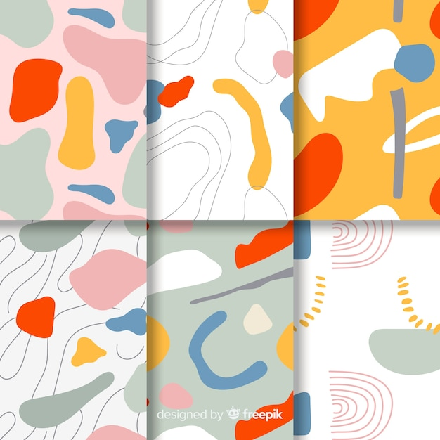 Hand drawn abstract pattern pack Free Vector